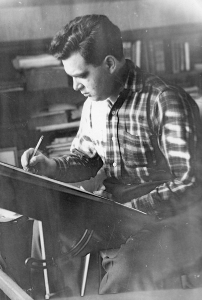 Jack Kirby at work in The Dungeon, East Williston, Long Island, c. 1949