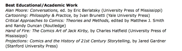 2012 Eisner Award nominees, Best Educational/Academic Work