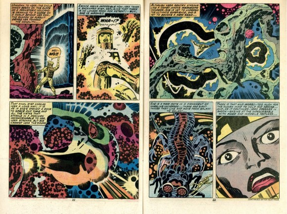 Two stunning, abstract-leaning pages from Kirby's 2001