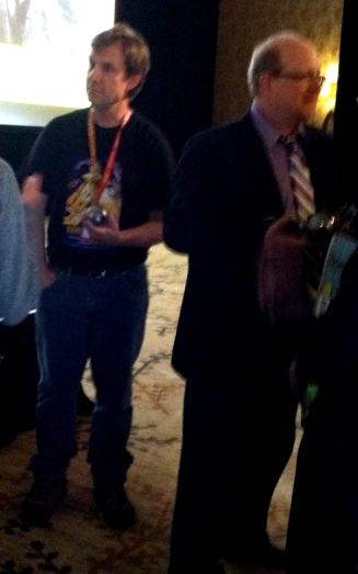 CH at the Eisners, 13 July 2012 (isn't that Mark Waid on the right?)