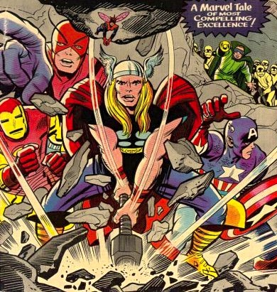 Detail from the cover to Avengers #12 (Jan. 1965), drawn by Jack Kirby, inked by Chic Stone, colored by Stan Goldberg