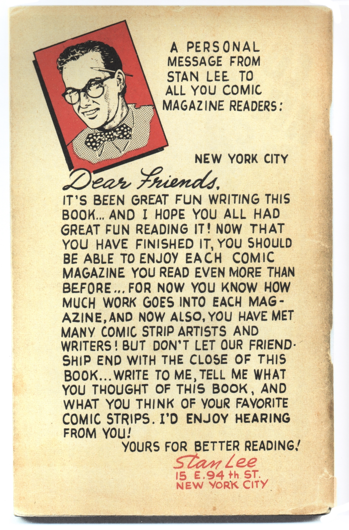 """Back cover to Stan Lee's """"Secrets Behind the Comics"""" (1947)."""