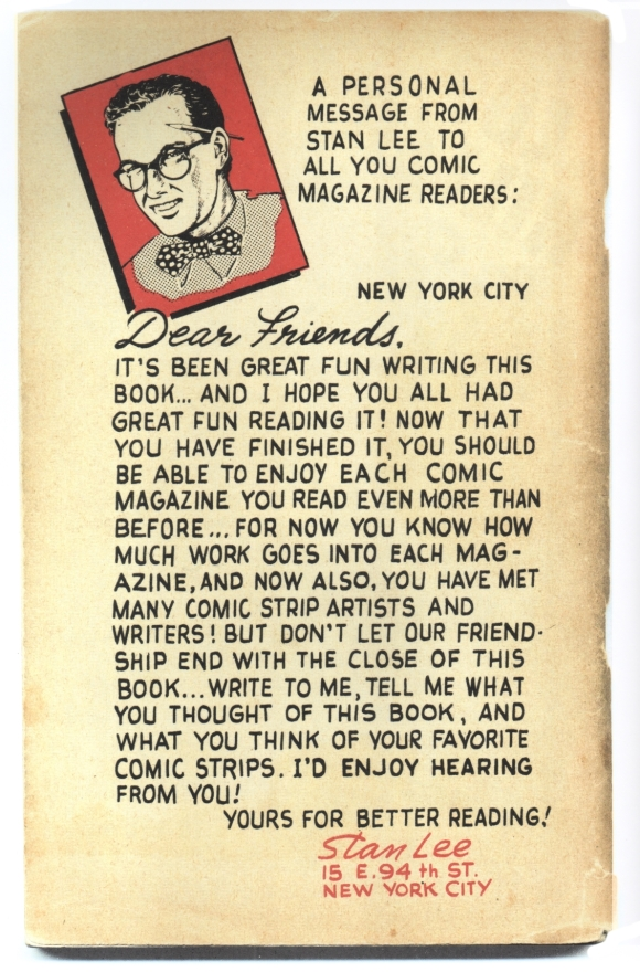"Back cover to Stan Lee's ""Secrets Behind the Comics"" (1947)."